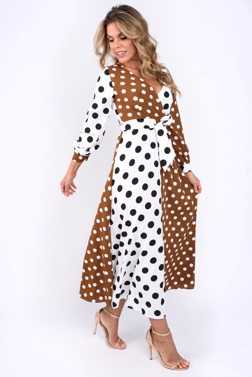 Sara Large And Small Dot Belted Midi Dress Brown and White