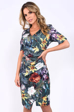 Lydia Green Floral Wrap Dress