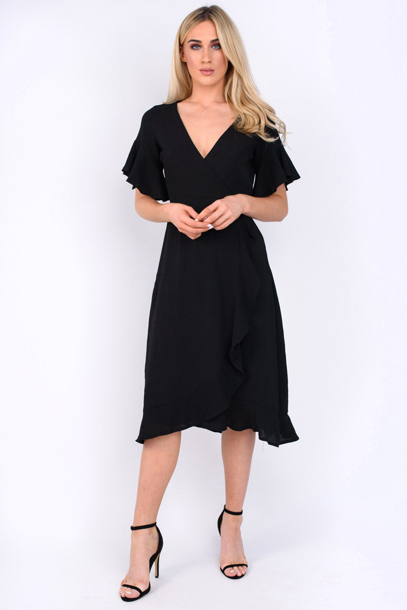 Remi crossover top with frilled side midi dress