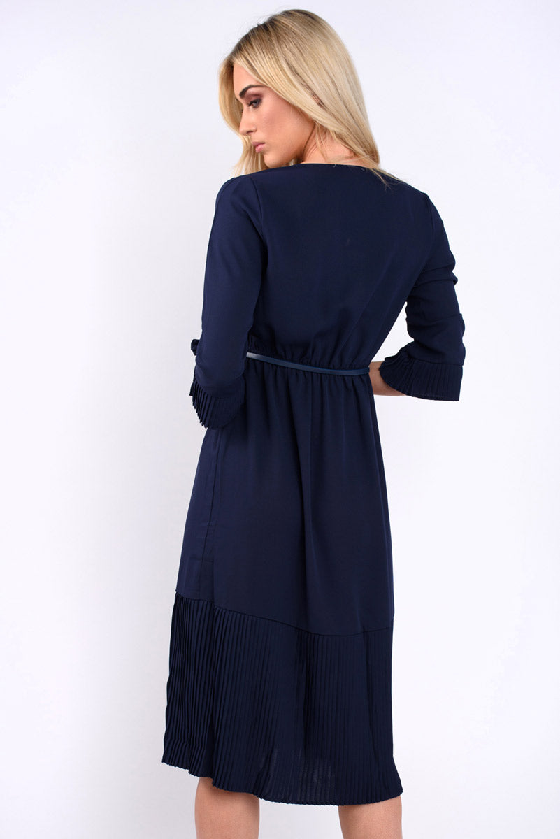 Aurora Plain Pleated Wrap Dress - Navy