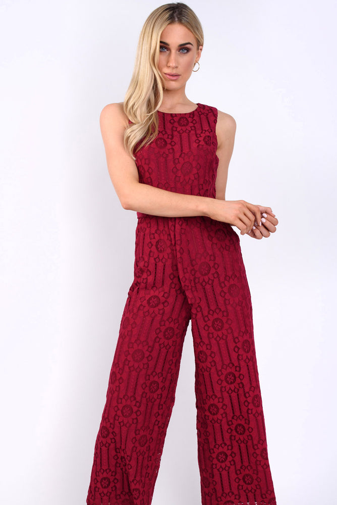 Miranda lace crochet jumpsuit -wine
