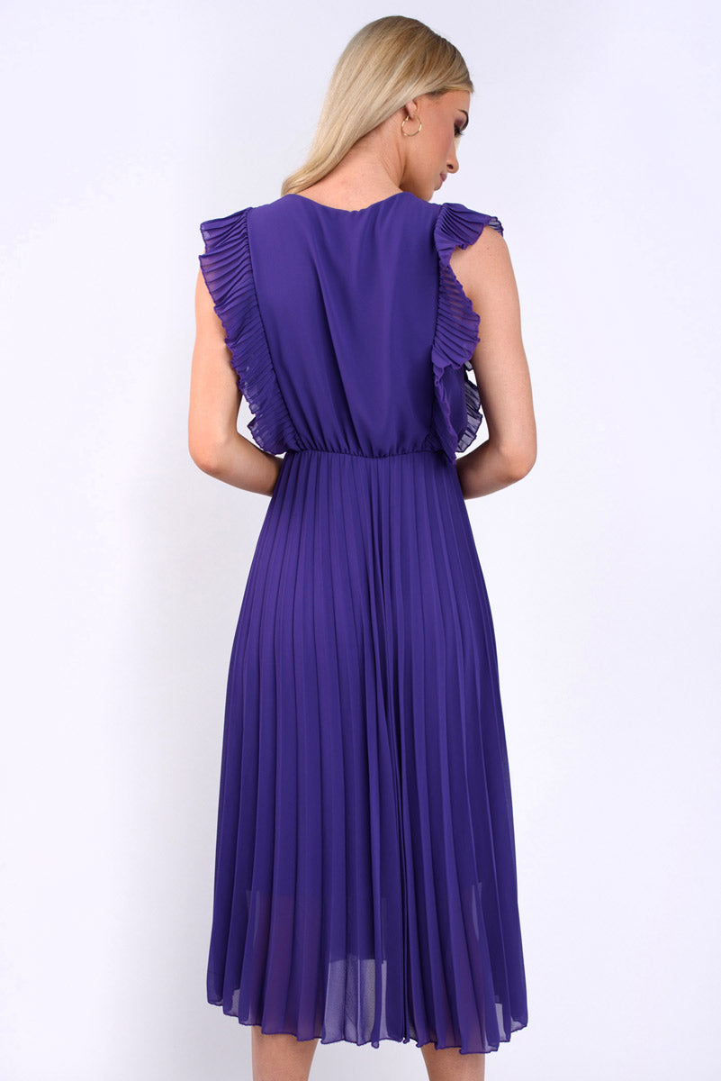 Natalie Frill Sleeve Pleated Midi Dress - Purple