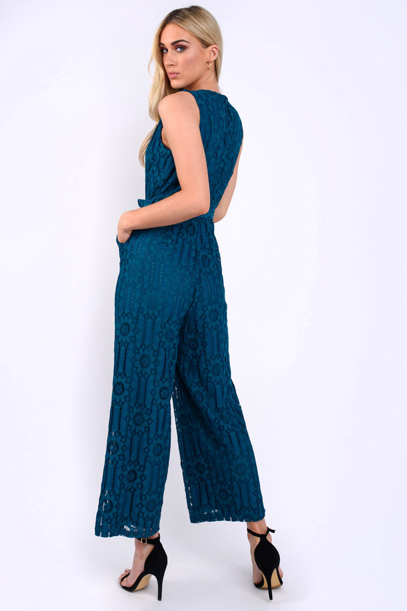 Miranda lace crochet jumpsuit -Teal