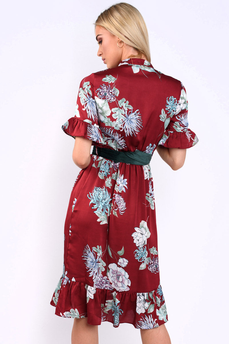 Lila Mandarin collar oriental floral print midi Dress - wine