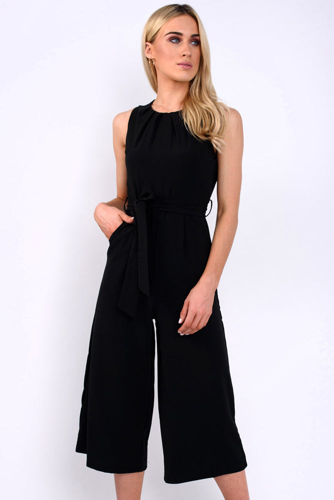 Averie belted plain jumpsuit-black