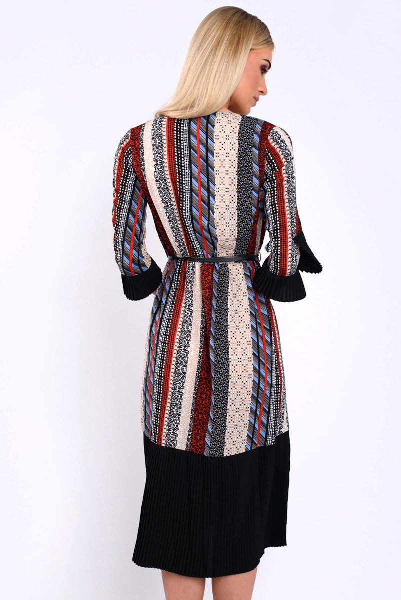 Paige red black and beige abstract pleated sleeve and skirt wrap