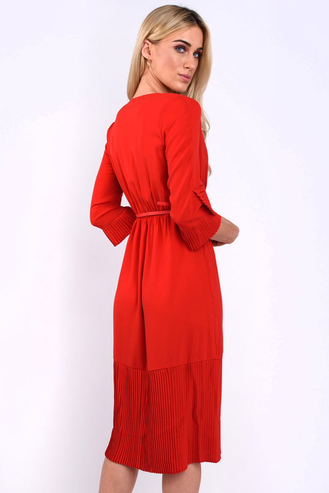 Aurora Plain Pleated Wrap Dress - Red