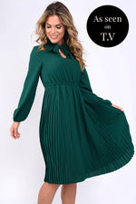 Jessie Pussybow Midi Dress - Green