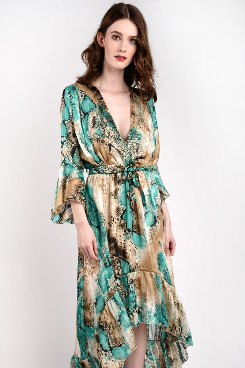 DRAPED CHIFFON MAXI Green & Gold