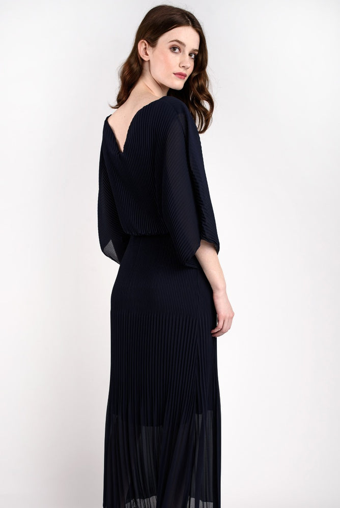 Pleated Maxi Dress Navy