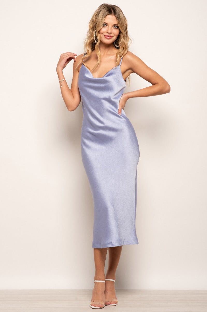 Violet Plain Satin Slip Dress - Lilac