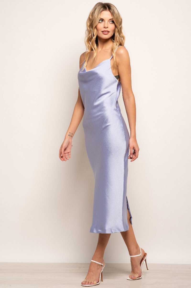 Violetta  Plain Satin Slip Dress - Lilac