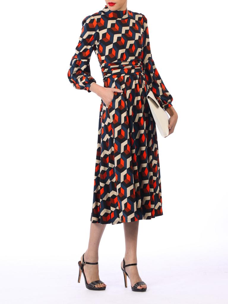 CHRISTINA HIGH NECK PRINTED MIDI DRESS - NAVY