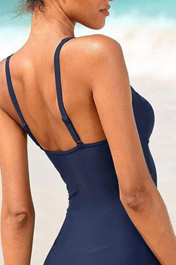 Sporty Solid Color One Piece Swimwear