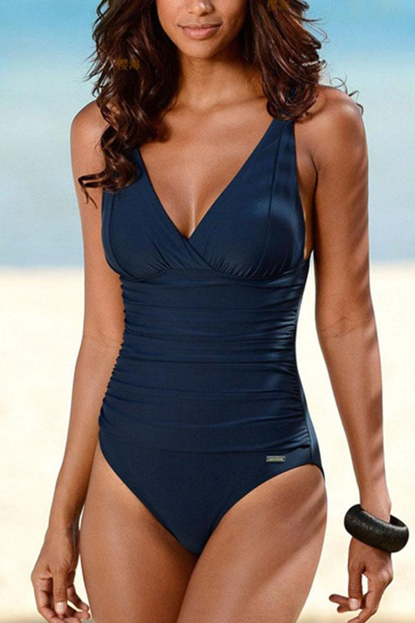 Solid Color Sporty One Piece Swimwear