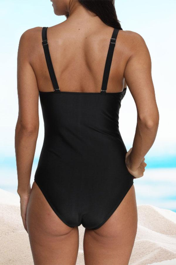 Polka Dot Print Twist One Piece Swimwear