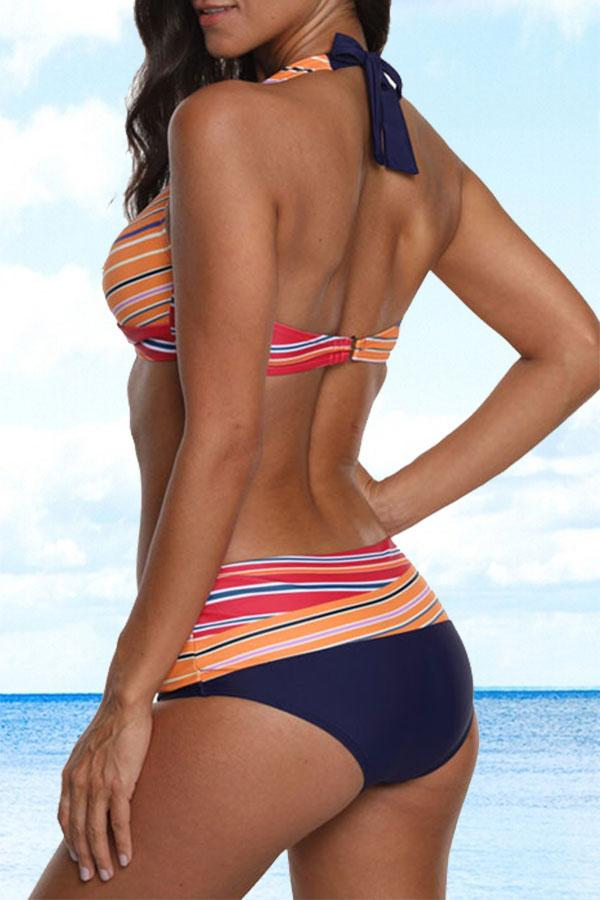 Retro Multicolor Striped Cross Over Bikini