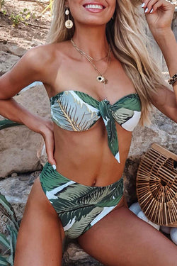 Natural Print Girly Lace-Up Bikini