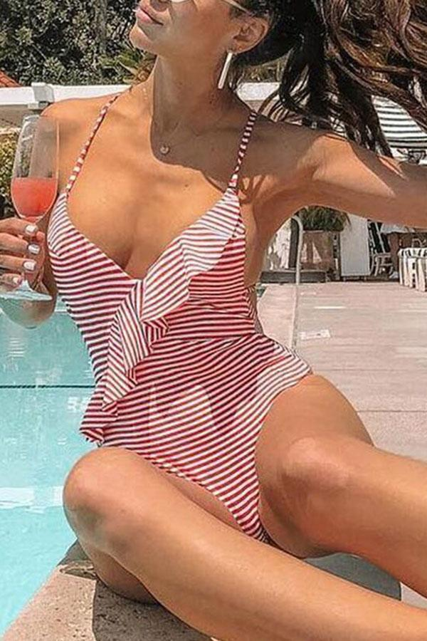 Striped Ruffled One Piece Swimwear