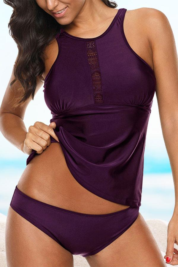 Elegant Backless Solid Color Tankini