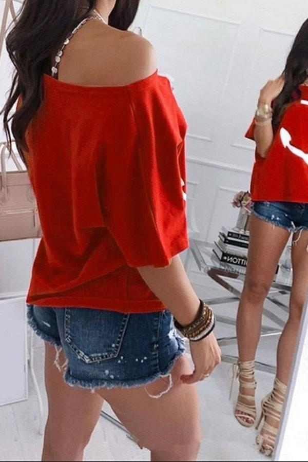 Boat Anchor Print Off Shoulder T-Shirt