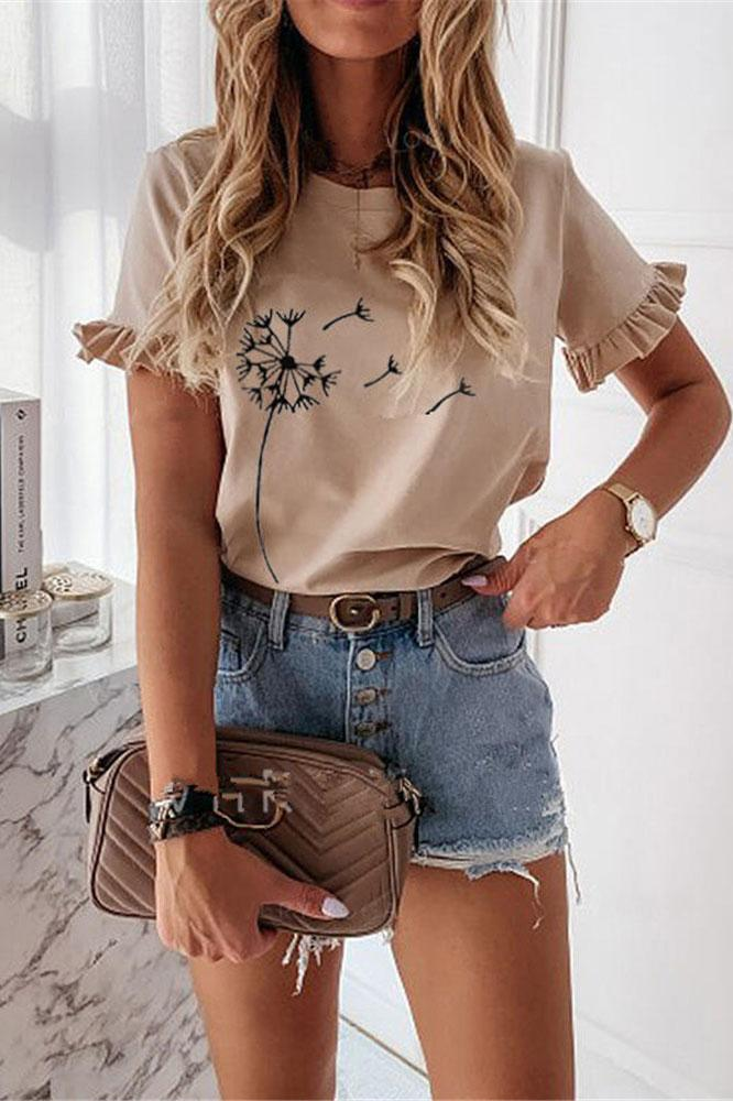 Casual Scalloped Print T-Shirt