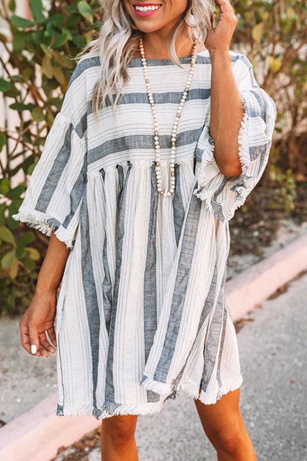 Sweet Striped Tassel Midi Dress
