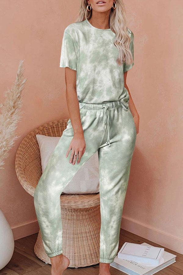 Round Neck Tie Dye Pants Suit