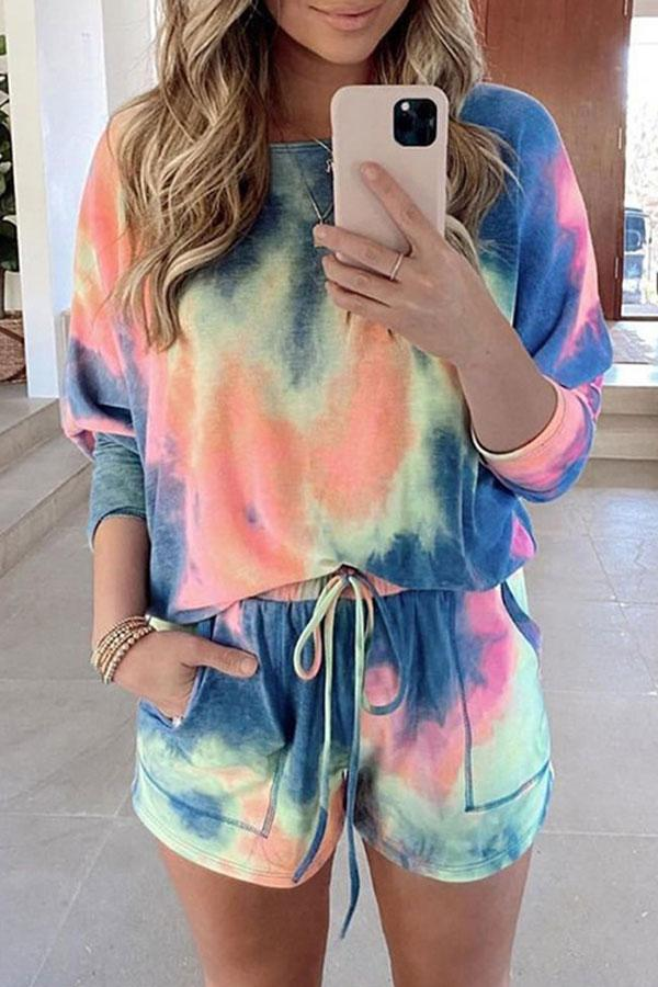 Casual Lace-Up Tie Dye Pants Suit