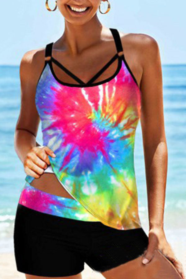 Graphic Print Sporty Tankini