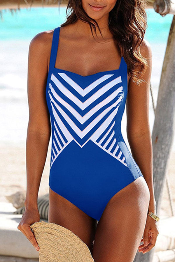 Striped Simple One Piece Swimwear