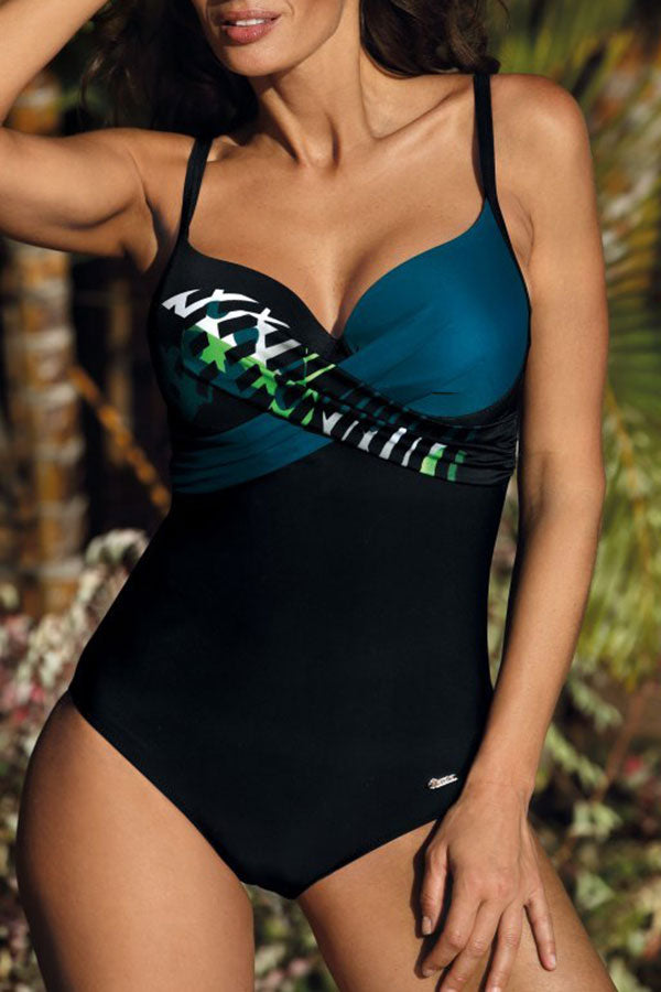 Hit Color On-trend Front Wrap One Piece Swimwear