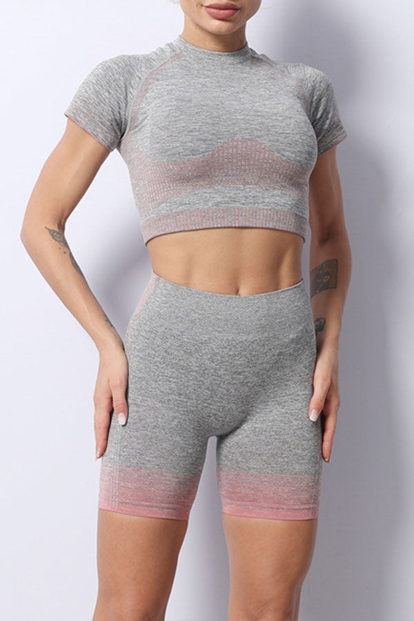 Striped Sporty Three Pieces Yoga Pants Suit