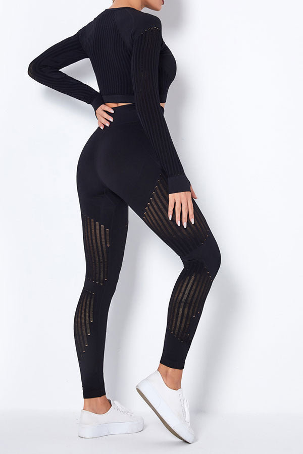 Striped Sporty Bodycon Yoga Pants Suit