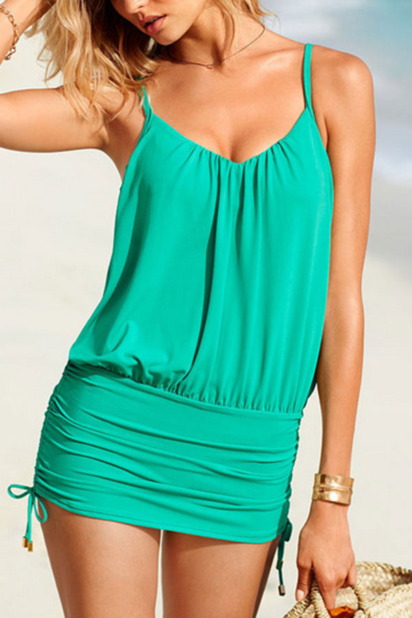 Solid Color On-trend Drawstring One Piece Swimwear