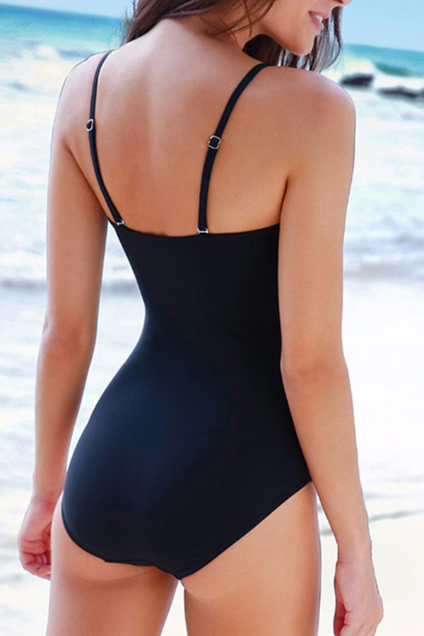 Ruched Solid Color On-trend Front Wrap One Piece Swimwear