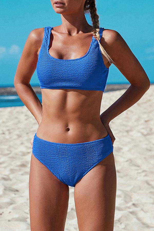 Solid Color Simple Bubble Bikini