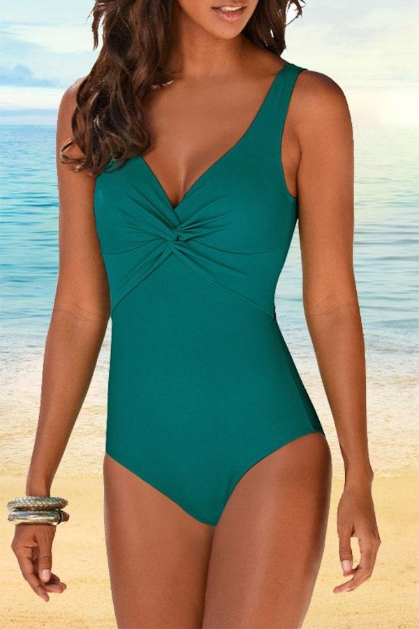 Solid Color Classic V Neck One Piece Swimwear