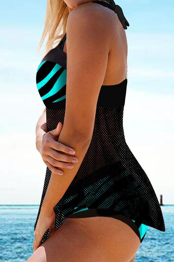 Patchwork Mesh Striking Asymmetric Tankini