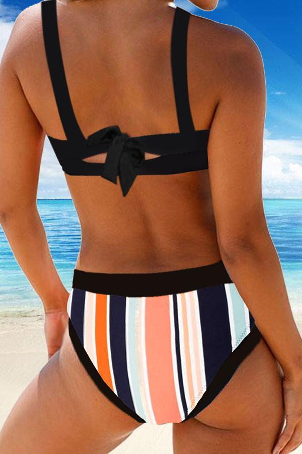 Colorful Striped Girly Suspenders Knotted Tie Bikini Set