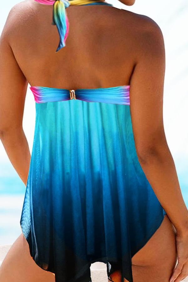 Abstract Print  On-trend Swimdress Bow Tankini
