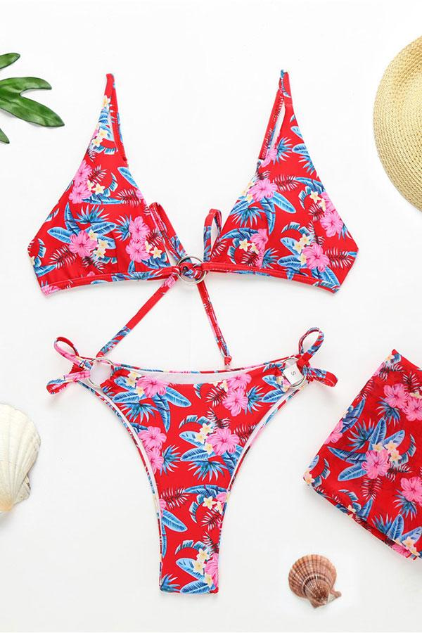 Flower Print On-trend Bikini Set & Beachwear