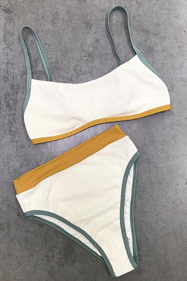 Color Block High Waist Sporty High Waist Bikini