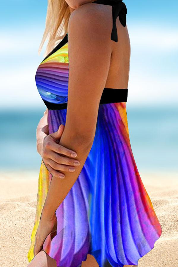 Gradient Color Stripe Boho Tankini