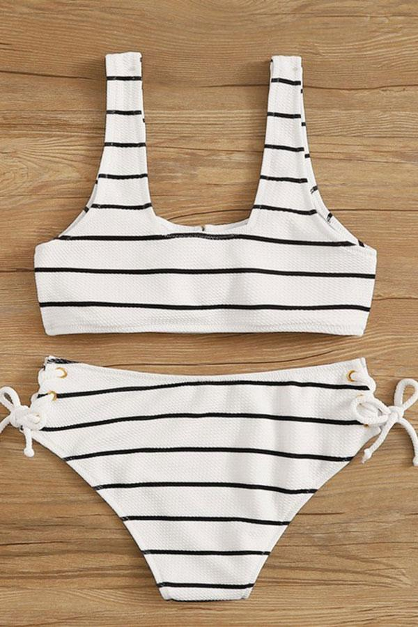 Striped Lace-Up Classic Bikini