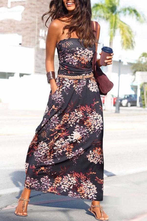 Floral Print Bandeau Romantic Maxi Dress