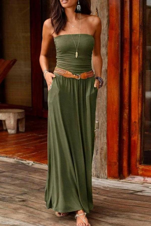 Solid Color Bandeau Romantic Maxi Dress