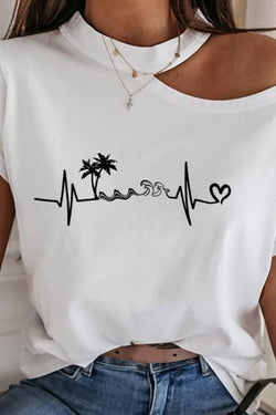 White Heart Print Cold Shoulder Smart T-Shirt