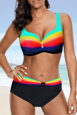 Gradient Romantic Rainbow Bikini Set
