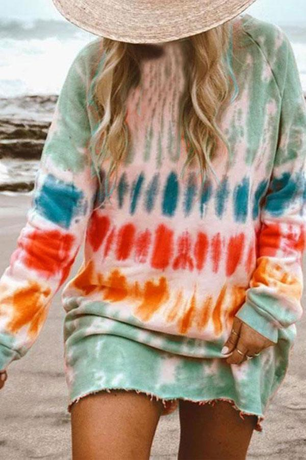 Tie Dye Relaxed Gradient Mini Dress